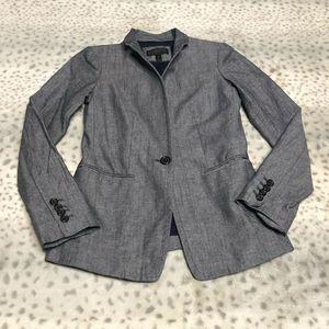 J Crew Regent Chambray Blazer Jacket Blue SZ 00